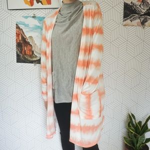 Lularoe Tye Dye long peach color cardigan